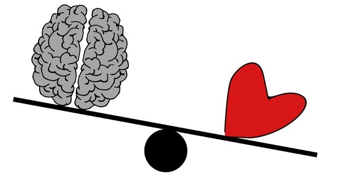 heart and brain on see-saw